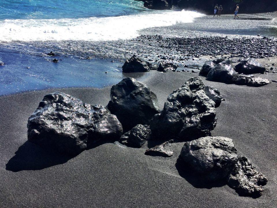 Road to Hana Stops | Black Sand Beach Rocks