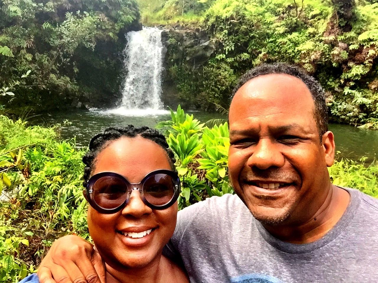 Road to Hana Stops | James and Tomiko at a waterfall