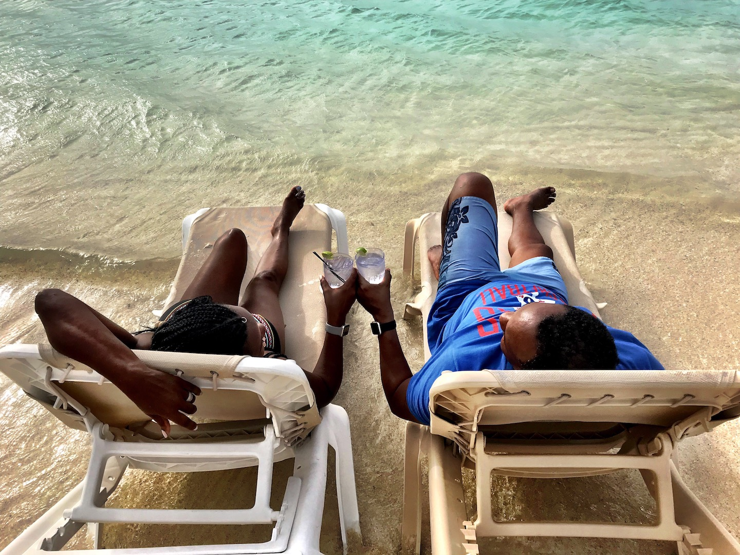 Sandals South Coast | Overwater Bungalows in Jamaica | James and I in the ocean
