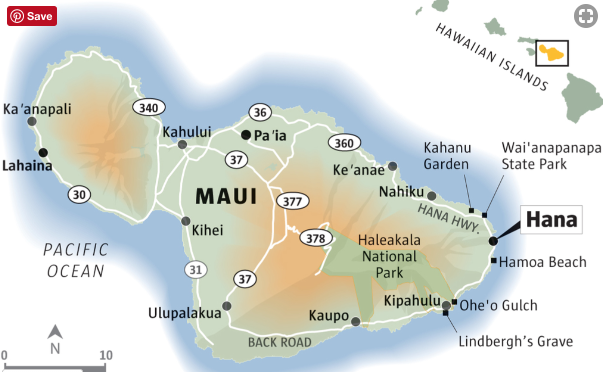 Map of The Road To Hana