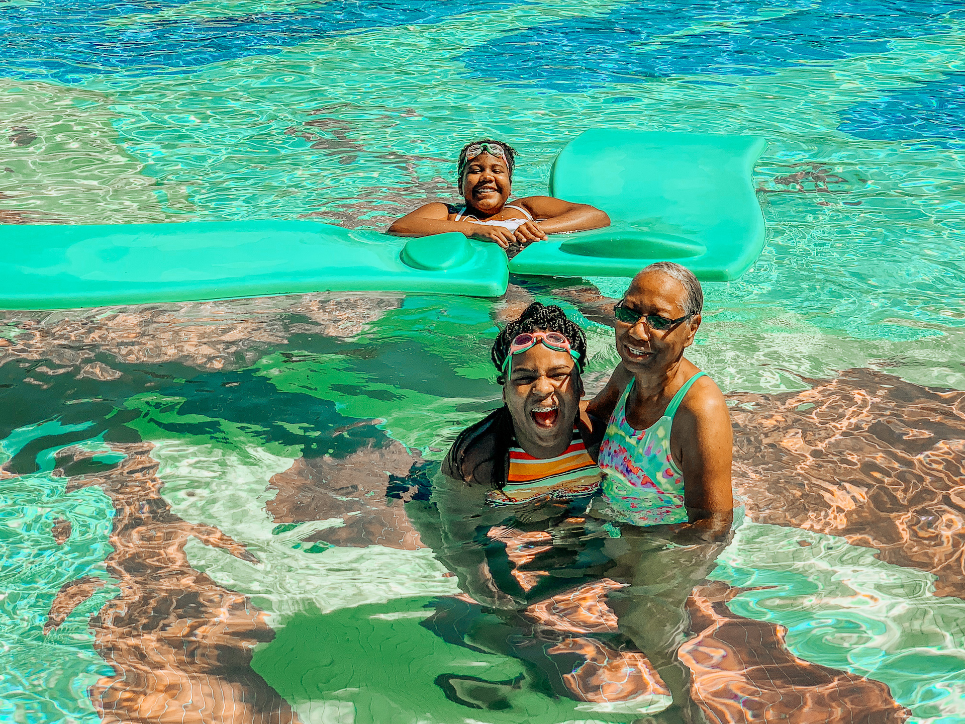 Madison, granny and cam at the pool in Beaches Turks and Caicos