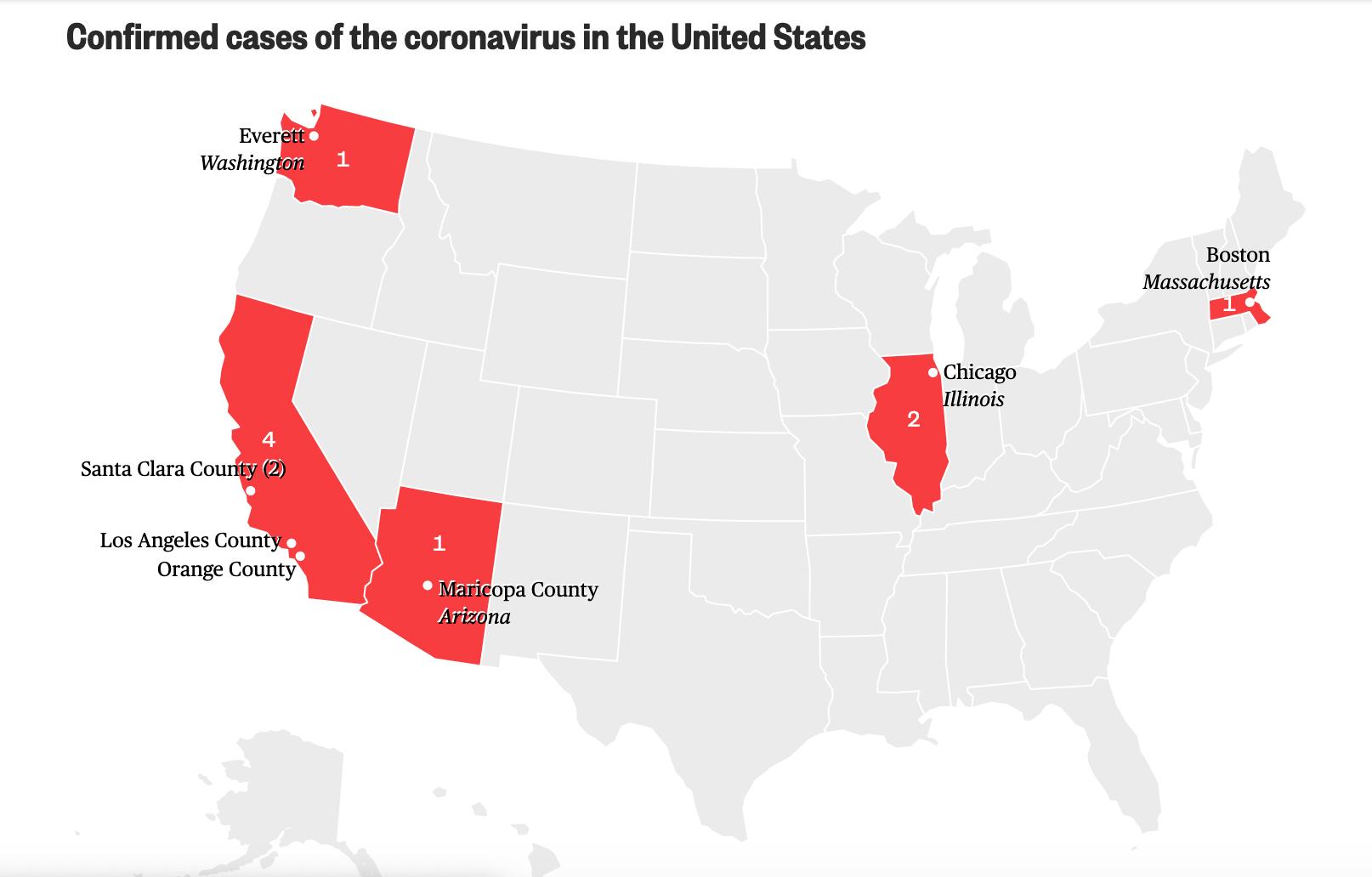 Confirmed cases of Coronavirus